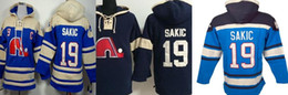 Wholesale Sweatshirt Navy - Mens Quebec Nordiques 19 Joe Sakic Ice Hockey Hoodies Jerseys Sweatshirts Sewn Logos Blue White Navy blue Free Shipping