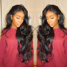 Wholesale Indian Hair Wigs Wholesalers - 8A Pre Plucked Natural Hairline Full Lace Human Hair Wigs For Black Women Wave Brazilian Virgin Human Hair Lace Front Wigs With Baby Hair