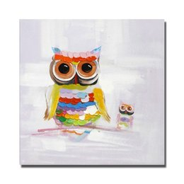 Wholesale Art Oil Canvas Bird - Cartoon animal owl birds oil painting hand painted canvas wall art painting modern abstract paintings for bedroom