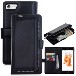 Wholesale Iphone Money Purse - Luxury Zipper Leather Wallet Phone Case For Apple iPhone 7 7 Plus Flip Cover Purse Detachable Magnetic Closure Money Handbag For iPhone7