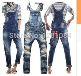 Wholesale Bibs For Men - Wholesale-Men's Korean style slim Jumpsuits Hole suspenders jeans for men Mens denim bib pants Blue Denim Overalls Trouser For Man