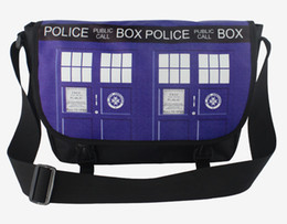 Wholesale Tote Bag Mochila - Doctor Who shoulder bags cartoon canvas school bags Dr Who TARDIS design messenger bag for boys children Mochila