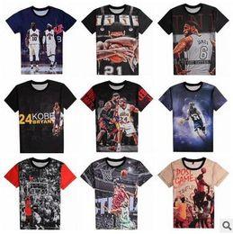 short de basket kobe Promotion T-shirts de basket-ball Star HOT imprimés en 3D Kobe James T-shirts en coton pour hommes en vrac T-shirts d'été T-shirts manches courtes