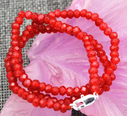"Wholesale Ruby Faceted Necklace - New 2x4mm Faceted Red Ruby Handmade Gemstone necklace 18"" Silver clasps AAA"