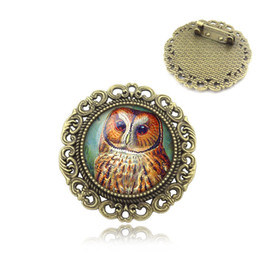 Wholesale Cabochon Brooch - Wholesale- Fashion Creative Vintage Style OWL Art Picture Glass Cabochon brooch Badge Bronze Women Jewelry Gift