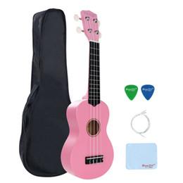 Wholesale Ebony Pick - Wholesale-Strong Wind 21 Basswood Soprano pink Ukulele Four strings Bundle with Gig bag Picks Hot sale for Beginner