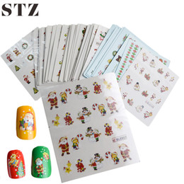 Wholesale Christmas Nail Stickers Foil - Wholesale- 44sheets Hot Mixed Christmas Xmas Designs Nail Art Sticker Wraps Foils Water Transfer Decals Nail Art Beauty Tools NJ004