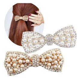 Wholesale Diamond Shaped Bow Tie - Charm Wedding Bridal Party Pearl HairPins Rhinestone Hair Clip Diamond Barrettes for Women Girls Bow Tie Shape Hair Accessories