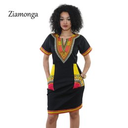 Wholesale Club Clothes For Plus Size - Wholesale- Ziamonga 3XL Plus Size Dress African Clothes Dashiki Dress For Women Casual Summer Dresses Vintage Printed Vestidos Robe Femme