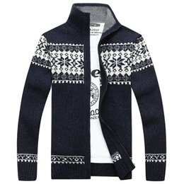 Wholesale Turtleneck Cardigan Sweater Men - AFS JEEP Brand Sweater Men Cardigan Thick Warm Print Casual Fashion Men's Sweater Men's Turtleneck Plus Size 3XL Pull Homme