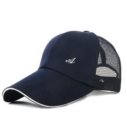 Wholesale Fitted Mesh Baseball Hats - Wholesale- Unisex Hot A Letter Baseball Cap Fashion Snapback Hat Cap 5 Colors Cotton Mesh Cap