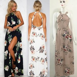 Wholesale Dipped Dresses - Brand new New Women's Print Long Skirt Sexy Dip Open Fork Dress NLX008