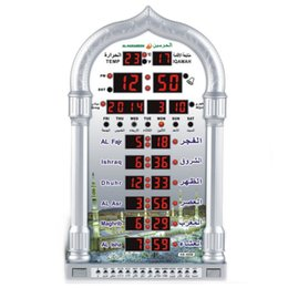 Wholesale Azan Alarm Clock - Wholesale-11.11 PROMOTIOsilver 1150 Cites Muslim Prayer Mosque Azan Clock Fajr Iqama Alarm with Qibla Direction Hijri Gregorian Calendars