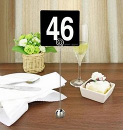 Wholesale Table Numbers Stands - 22cm Height Stainless Steel Round Shaped Mini Table Number Stands Place Card Holder Menu Stand For Wedding Restaurant Home Decoration