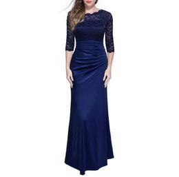 Wholesale Maxi Evening Wear Plus Size - SHADOWKING Hot Sale Women Elegant Lace Long Maxi Dresses Hollow Out Chiffon Half sleeve Evening Party Dress Plus size JBL114