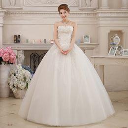 Wholesale Sweet 16 Feather Gown - 2017 Strapless Crystal Sweet Flowers Wedding Dress Stain Bride Dress Ball Gown Princess Wedding Gown Vestido De Noiva