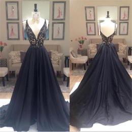 Wholesale Hard Wear - 2017 Formal Dresses Evening Wear Deep V-neck Sexy Hard Beaded A-line Straps Prom Party Gowns For Women Real Photo Women Weddings Party Dress