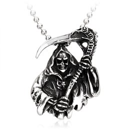 Wholesale Cheap Halloween Skeletons - NEW vintage biker skull stainless steel pendant for men.s cheap jewelry hip hop jewelry for free shipping