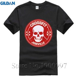 Wholesale Cheap Skull Clothes - New Cheap Tees Crossfit T Shirts Mens Fitness Top Tees Skull Swag Short Sleeve O Neck Clothing Hipster Print Round Neck Man