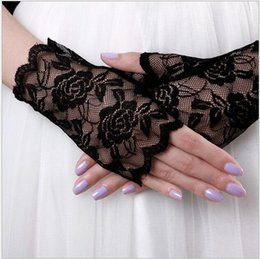 Wholesale Long Black Lace Fingerless Gloves - Lady's Lace Sun Block UV Protection Long Opera Evening Women Chic Graceful Wedding Bridal Lace Glove Driving Gloves AOP-002