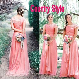 Wholesale Goddess Long Gown - Country Style Goddess Coral Bridesmaid Dresses Long Formal Boat Neck Capped Sleeves Lace Ruched Chiffon Wedding Party Formal Gowns Custom
