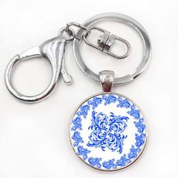 Wholesale Metal Photo Keychain - Fashion key chain Mandala Photo Art Glass Cabochon Pendant Keychain Sacred Geometry Yoga Om New Fashion Jewelry