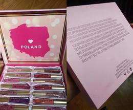 Wholesale poland box - Hot selling Poland Edition Matte Melted Liquid Lipstick Lip Gloss 16pcs Lipstick Set With box Christmas Gifts