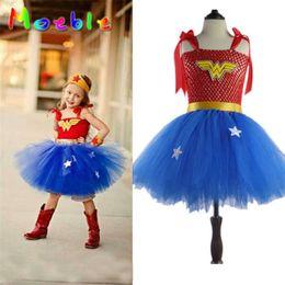 Wholesale Teenage Dresses - Kids Baby Girls Wonder Woman Tutu Dress Superhero Princess Diana Cosplay Costume Christmas Halloween Party Cartoon Dress Up Photo Props