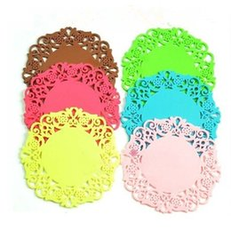 Wholesale Zakka Crochet - Wholesale- Free Shipping Wholesale 6 colors 9.5CM Round Table Mat Crochet Coasters Zakka Doilies Cup Pad Props for Lampshade