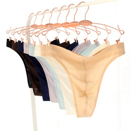 Wholesale Male Thong L - Men Thongs Sexy Male Smooth Ice Silk G-Strings Brief Underwear