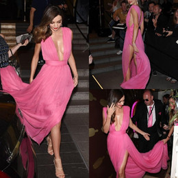 Wholesale Miranda Kerr Deep V Dress - Backless Fuchsia Party Dress Miranda Kerr Sexy Celebrity Prom Dresses V Neck Red Carpet Dress Side Split Chiffon Evening Gowns A Line Custom