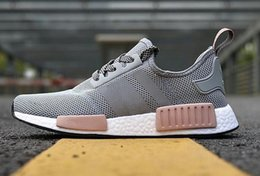 Wholesale Women Pink Leather Shoes - 2018 Wholesale Discount Cheap pink red gray NMD Runner R1 Primeknit PK Low Men's & Women's shoes Classic Fashion Sport Shoes With Boxes