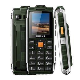 Wholesale Dual Sim Standby Touch - Original Uhans V5 Elder mobile Phone 1.7 inch Daily WaterProof Long standby Big box Speaker 2500mah Led light Power Bank cellphone