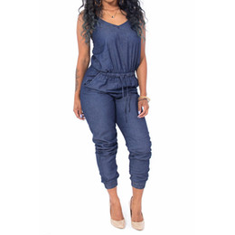Wholesale Open Back Rompers - Wholesale- Sexy V Neck Thin Denim Jumpsuit 2017 Summer Open Back Elastic Sling Slim Fit Full Length Rompers Club Playsuits Overalls Blue