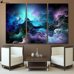 Wholesale Free Pictures Prints - HD Printed 3 piece canvas art abstract psychedelic nebula space Painting decor panel paintings Free shipping NY-5746
