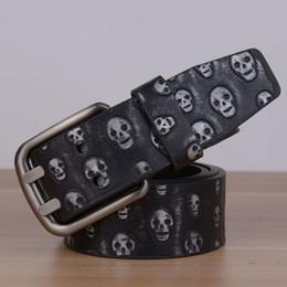 Wholesale Skull Silver Belt Buckle - 2017 New Arrival designer Pin Buckle PU leather belts for men & Women Luxury Skull pu leather Mens Belt male ceinture LH-P77