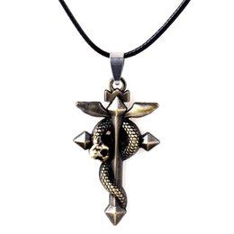 Wholesale Fullmetal Alchemist Necklace - Fullmetal Alchemist Edward Cross Snake Pendant Necklaces Bronze Alloy Leather Chain Necklace & Keychain Europe and America Hot