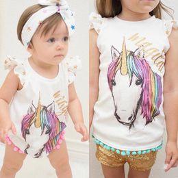 Wholesale Toddler Sleeveless Shirts - INS Baby Girls cotton unicorn tassel Romper Summer Cartoon Infant Bodysuit Summer Unicorn Printed ponpon tassel Toddler T-shirt Newborn Tops