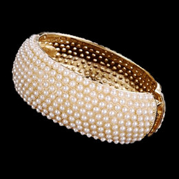 Wholesale Wide Bracelet Pearl - Top Quality Luxury Pearl Bracelets Spring Wide Cuff Bangle Gold Alloy Bead Bracelet for Women Wedding Bride Bangles Jewelry Gifts Wholesale