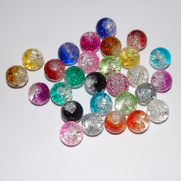 Wholesale 6mm Round Glass Beads Wholesale - 4mm 6mm 8mm 10mm 12mm Round Crackled Glass Beads Assorted Colors DIY Jewelry Making Supplies