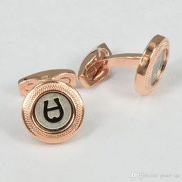 Wholesale Letter Shaped Cufflinks - High Quality Best Design AAA+ 4 Colors Letter A Engraved Round Shape Colorful Outside Famous Cufflinks