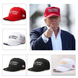 Wholesale Hat Womens - 50Pcs Make America Great Again Hat Donald Trump Republican Snapback Sports Hats Baseball Caps USA Flag Mens Womens Fashion Cap AC53