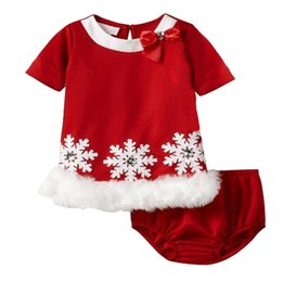 Wholesale Wholesale Baby Ruffle Pants - Fashion baby girls christmas clothing set snowflake one-piece dress+ pp pants children Christmas clothes 5s l
