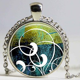 Wholesale Cameo Pendant Necklace Rhinestone - Abstract Watercolor Swirls Photo Cameo 25mm Round Glass Cabochon Art Resin Jewelry Necklace Accessories Mother's Day Gift