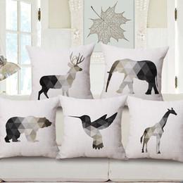 Wholesale deer giraffe - Deer Stag Bear Elephant Giraffe Bird Cushion Covers Geometric Triangles Animals Cushion Cover Decorative Thick Linen Cotton Pillow Case