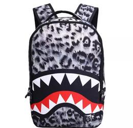 Wholesale Backpack Middle School - New Arrival Middle School Student Shark Mouth Backpack Men Women Versatile School Bag Casual Canvas Famela Shoulder Bag Free Shipping