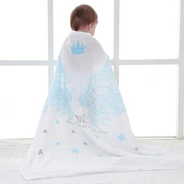 Wholesale Cotton Gauze Wrap - Muslin wrap blanket cotton gauze 2 layers baby swaddles bath towel pink blue black wings big summer quilt