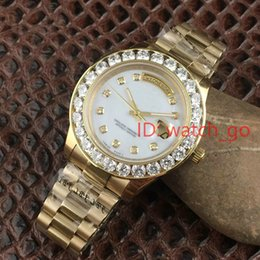 Wholesale Mens 18k Watch Diamond - 2017 President Day Date 18K Gold Perpetual fashion mens watch Big diamond Bezel Gold Stainless steel original strap Automatic men Watches
