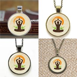 Wholesale Christmas Positions - 10pcs Yoga Lotus Position Zen Jewelry glass cabochon dome Necklace keyring bookmark cufflink earring bracelet