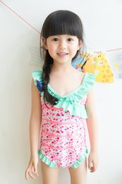 Wholesale Beautiful Green Grass - 2 color 2017 new arrivals hot selling girl kids Lovely bowknot bikini summer girl beautiful rose printting One-piece skirt swimsuit